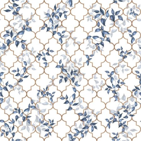 Illustration for Seamless classic pattern with gold lattice and leaves. Traditional seamless background on vector - Royalty Free Image