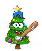 Cartoon xmas christmas tree exulting number 25 glove supporter fan isolated