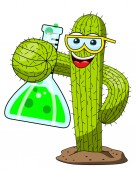 cactus cartoon funny character chemist scientist experiment lab isolated on white