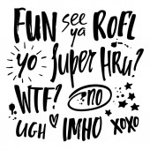 Vector Handwritten Short Communication Phrases Grunge Chat Slang Quotes