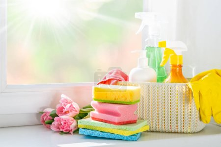 Photo for Spring cleaning concept - cleaning products, gloves, bokeh background, copy space - Royalty Free Image