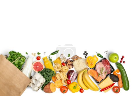 Photo for Grocery shopping concept - meat, fish, fruits and vegetables with shopping bag, top view - Royalty Free Image