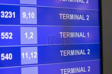 Arrivée départ Conseil montrant au départ des vols à l'aéroport