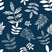 Blue and white flourish print