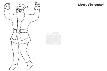 Illustration for Merry Christmas Card. Continuous line drawing style. Template for coloring books and pages, invitations, banners, posters. - Royalty Free Image
