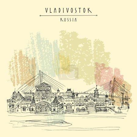 Illustration pour Gare ferroviaire de Vladivostok, Russie, Extrême-Orient russe, fin du chemin de fer transsibérien et Golden Bridge. Esquisse de voyage d'architecture, carte postale touristique vintage dessinée à la main. Vecteur - image libre de droit