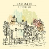 Amsterdam old town. Canal, Dutch traditional historical buildings, trees, lamps, bicycles, sidewalk, telephone booth. Hand drawing. Travel sketch. Book illustration, vintage postcard, poster in vector