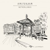 Amsterdam, Holland, Netherlands Europe. Bridge in old town. Dutch traditional historical buildings. Hand drawing. Travel sketch. Book illustration, postcard or poster in vector