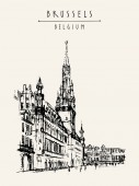 Brussels Belgium Grand Place artistic drawing illustration Travel sketch Vintage hand drawn travel postcard poster template or book illustration in vector