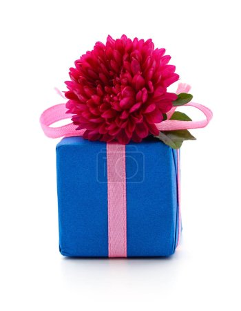 Gift and flower isolated on a white background....