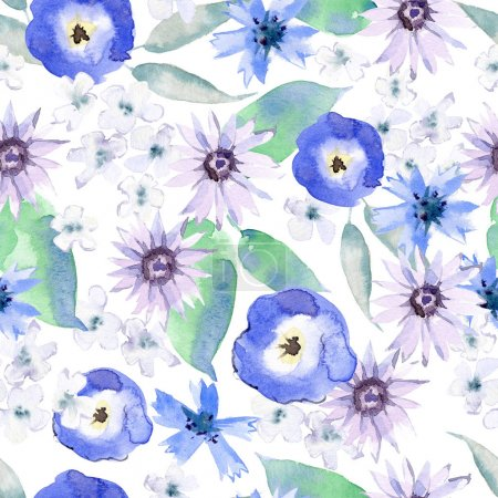 Photo for Watercolor seamless pattern with daisies and pansies, leaves, greenery. Wildflowers meadow. Hand painting. - Royalty Free Image