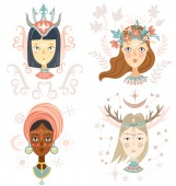 Collection of women faces mystical hairstyles and accessories different colors and nationalities Avatars for blogs brands