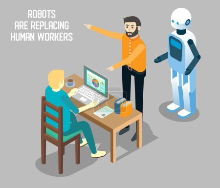Illustration pour Influence de l'automatisation robotisée sur le concept d'emploi humain illustration isométrique vectorielle. Robots remplaçant les travailleurs humains. Robots vs travail humain . - image libre de droit