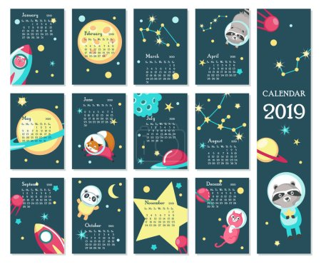 Illustration for Year 2019 calendar vector template. Yearly calendar showing months with cute space animals, rockets, planets, constellations. - Royalty Free Image