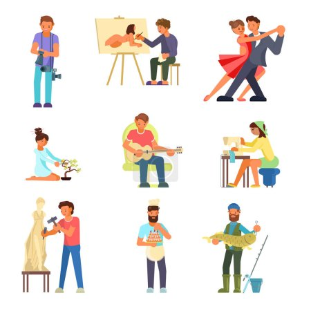Illustration pour Groupe de personnes appréciant leurs passe-temps vectoriels illustration plate. Photographie peinture, danse, jouer de la guitare, bonsaï, couture, sculpture, fabrication et décoration de gâteaux, pêche . - image libre de droit