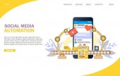 Social media automation vector website landing page design template