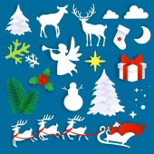 Merry Christmas set vector illustration in paper art style