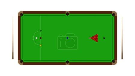 Top view of realistic snooker