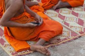 buddhist monk checking his mobile during a celebration