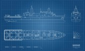 Outline blueprint of military ship Top front and side view Battleship model Industrial isolated drawing of boat Warship USS