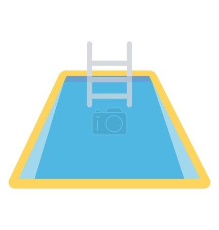 Illustration pour Une échelle sautante avec piscine pleine d'eau représentant les côtés de la piscine - image libre de droit