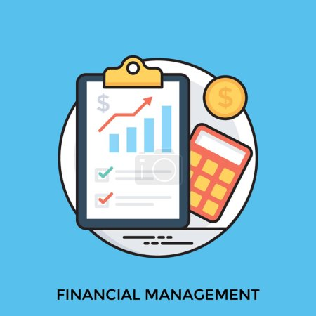 A clipboard finance sheet, coin and calculator symbolizing financial management