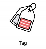 An icon of dually hanging tags used by logistics and shop owners for pricing and notes