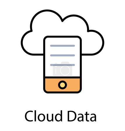 Mobile with cloud computing, mobile cloud drive icon