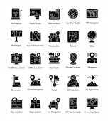 Maps and Navigations Glyph Vector Icons Set