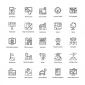 Maps and Navigation Line Vector Icons Set