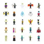 Halloween Characters Flat Set