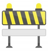 Barrier with barcode like lines on a stand denoting traffic barricade icon