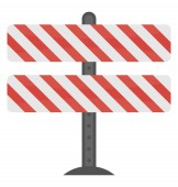Barriers with barcode like lines on a stand denoting traffic barricade icon