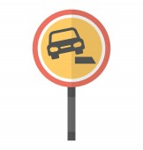 Circular road symbol in which car crossing a steep path icon for soft verges