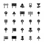 Road Signs and Junctions Glyph Vector Icons Collection