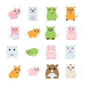 Cute pigs drawings icons