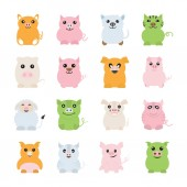 Fat pigs vector icons