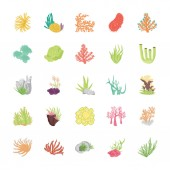 Coral Reef Flat Vector Icons