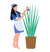 Flat icon design of plant care