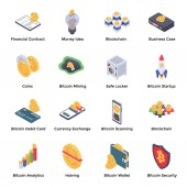 Cryptocurrency and Bitcoin Isometric Vectors Pack