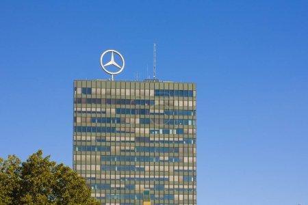 BERLIN, GERMANY - September 26, 2018: Mercedes-Benz logo on top of headquarters building
