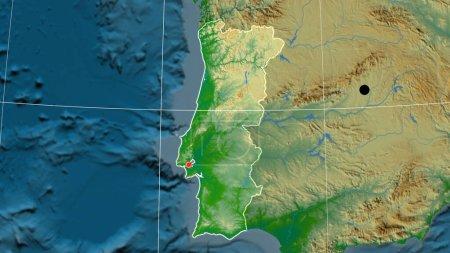 Photo pour Portugal décrit sur la carte orthographique physique. Capital, frontières administratives et gratifications - image libre de droit