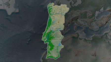 Photo pour Portugal zone élargie et rayonnante sur un fond sombre de son environnement. Principales caractéristiques physiques du paysage - image libre de droit