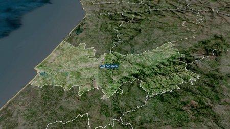 Photo pour Coimbra - quartier du Portugal zoomé et mis en évidence avec la capitale. Imagerie satellite. rendu 3D - image libre de droit