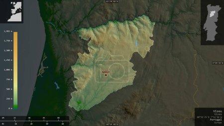 Photo pour Viseu, district du Portugal. Données plus sombres colorées avec des lacs et des rivières. Forme présentée contre sa zone de pays avec des superpositions informatives. rendu 3D - image libre de droit
