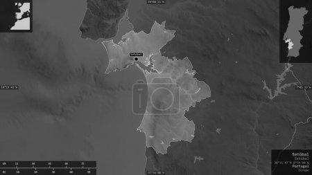 Photo pour Setubal, district du Portugal. Carte à échelle grise avec lacs et rivières. Forme présentée contre sa zone de pays avec des superpositions informatives. rendu 3D - image libre de droit