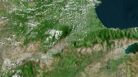 Photo for Yaracuy, state of Venezuela. Satellite imagery. Shape outlined against its country area. 3D rendering - Royalty Free Image
