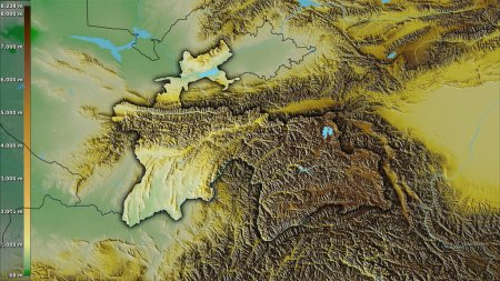 Photo for Physical map within the Tajikistan area in the stereographic projection with legend - raw composition of raster layers with dark glowing outline - Royalty Free Image