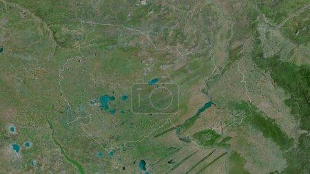 Photo pour Novossibirsk, région de Russie. Imagerie satellite. Forme tracée contre sa zone de pays. rendu 3D - image libre de droit