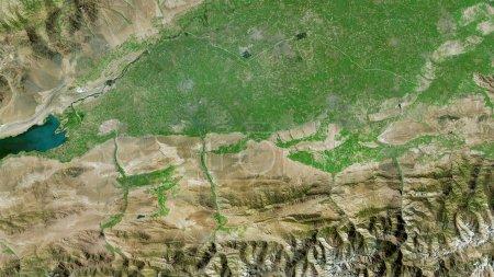Photo pour Ferghana, région d'Ouzbékistan. Imagerie satellite. Forme tracée contre sa zone de pays. rendu 3D - image libre de droit